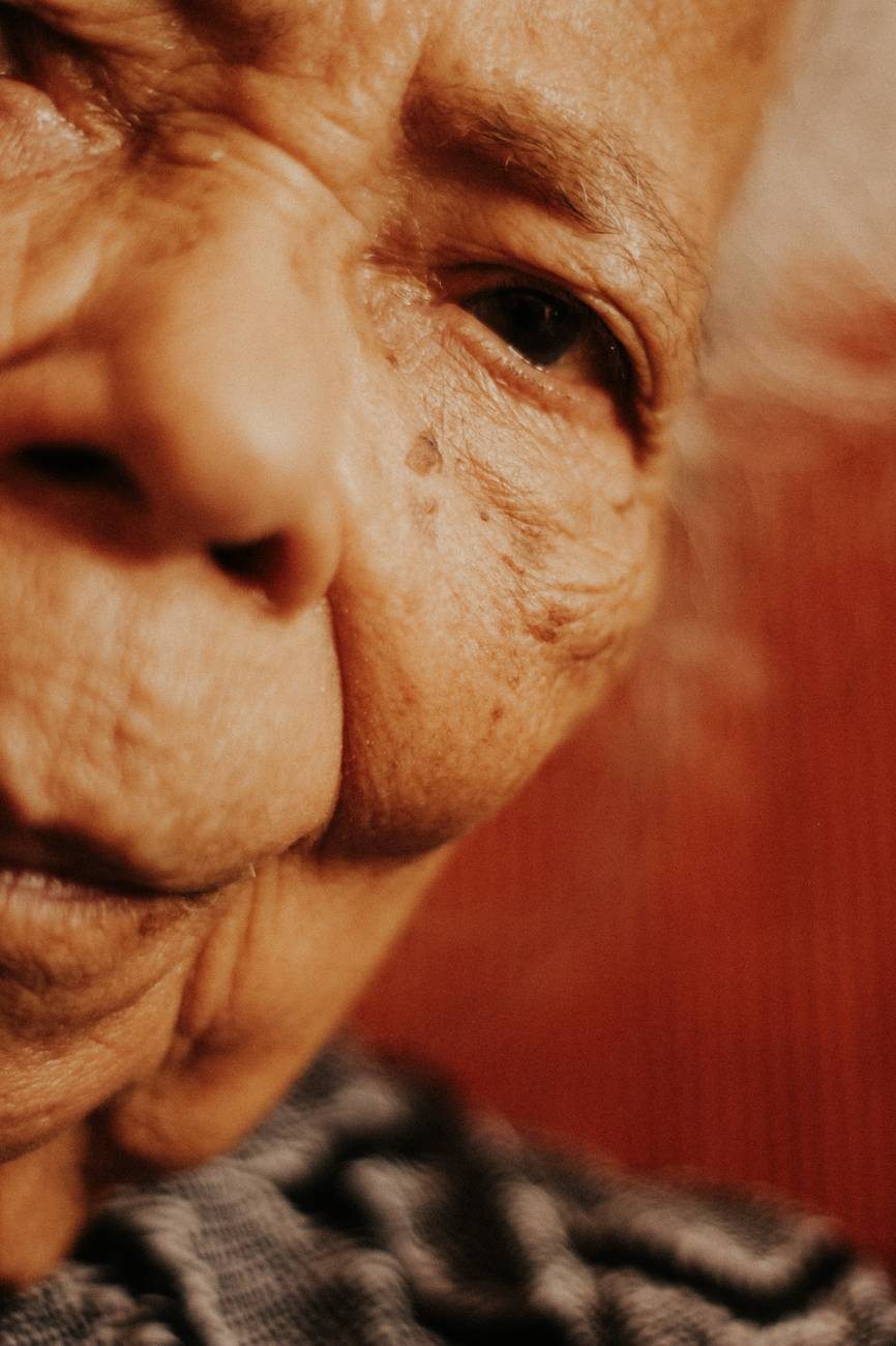 old woman in close up view